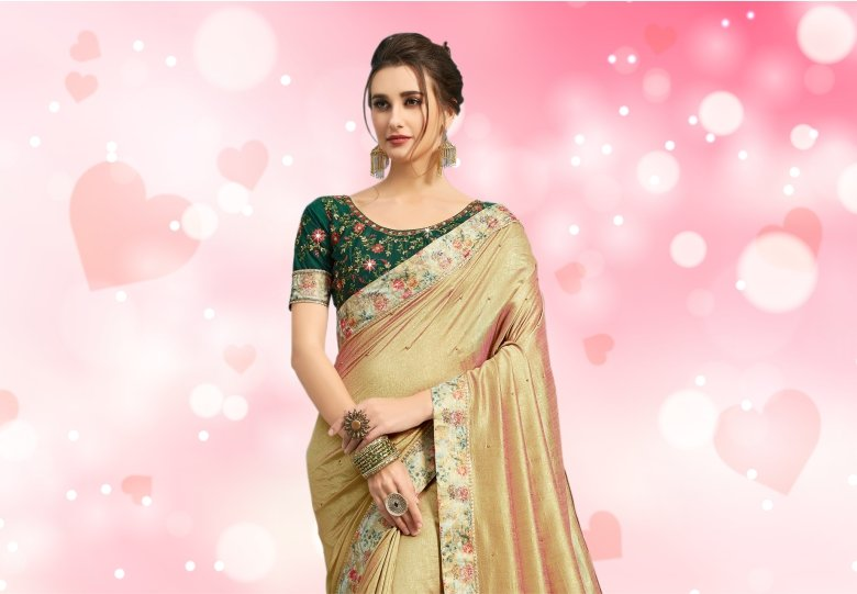 Golden Art Silk Saree with Floral Printed Border and Pallu
