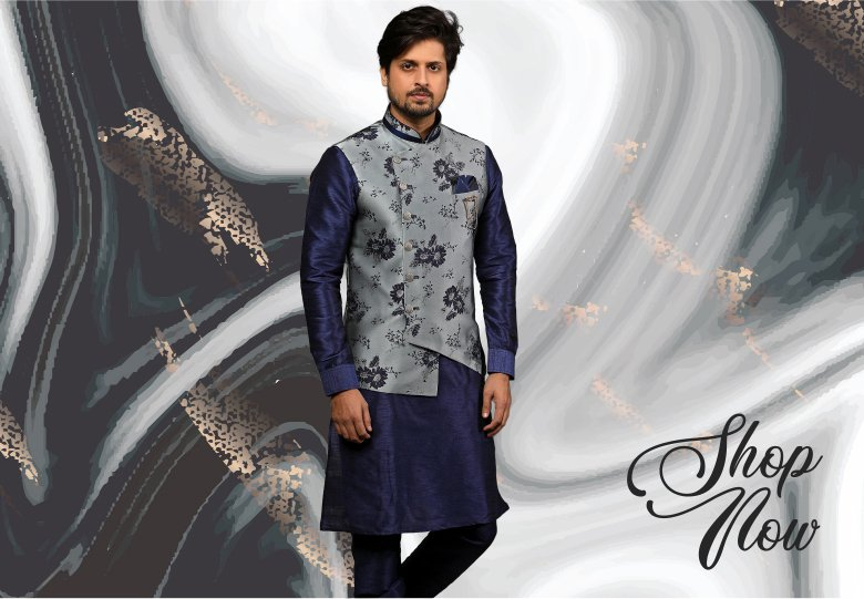 Navy Blue Banarasi Silk Kurta Pajama with Grey Jacket