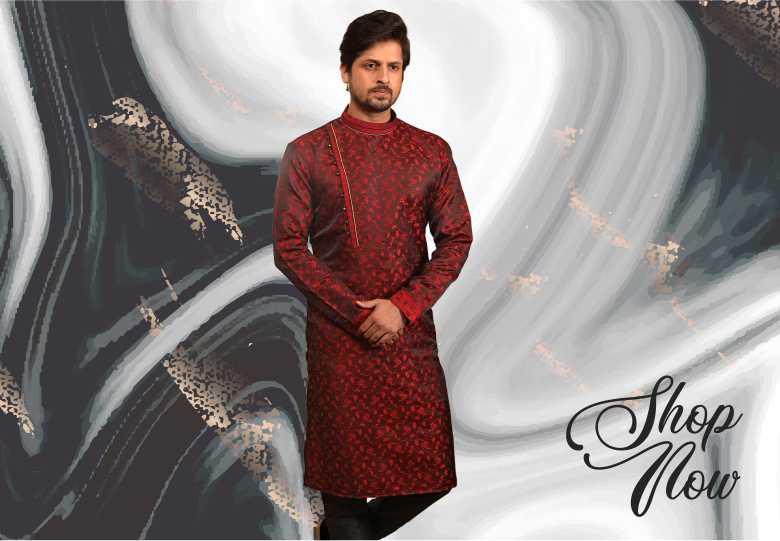 Red Jacquard Silk Kurta Pajama with Weaving