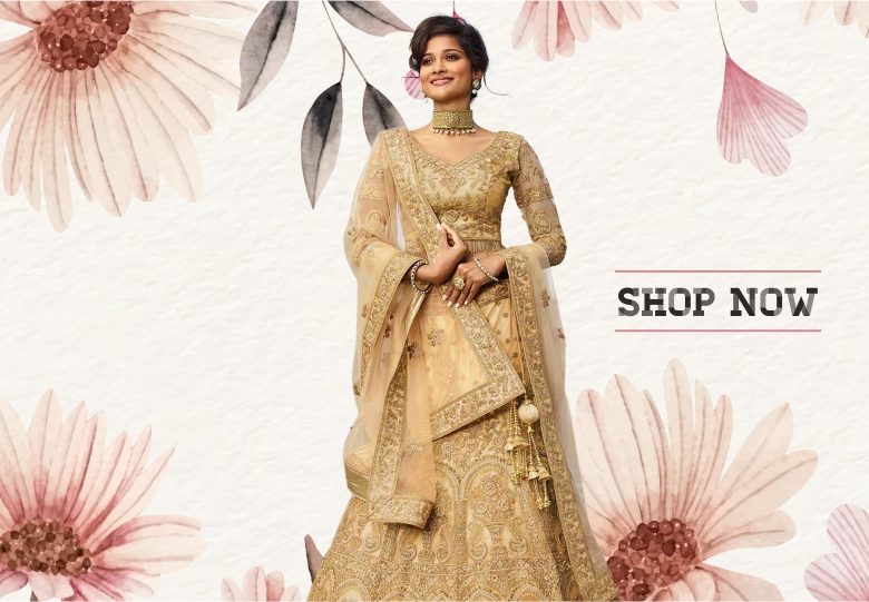 Beige Net Satin Designer All Over Embroidered Lehenga with Cutdana Bugle Beads Lace Blouse