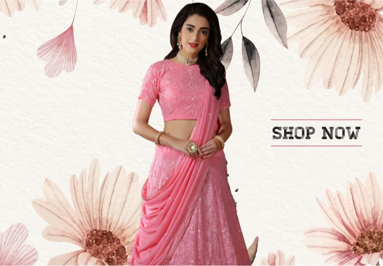 Light Pink Georgette Lehenga Choli with Embroidery
