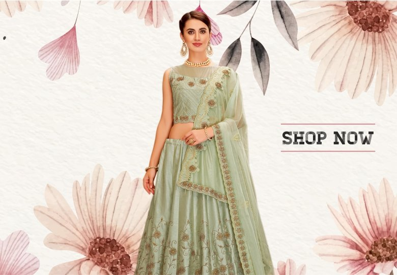 Pastel Green Taffeta Silk Designer Embroidered Lehenga Choli