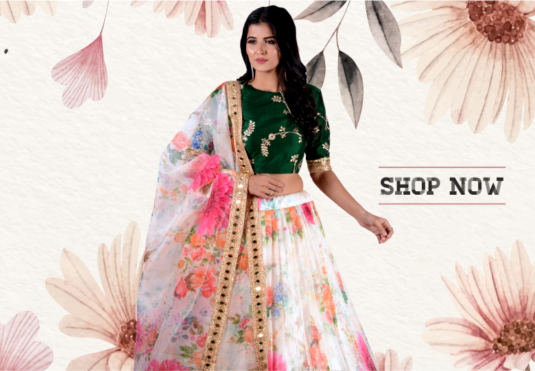 Pearl White Organza Flared Lehenga Choli with Contrast Floral Digital Print