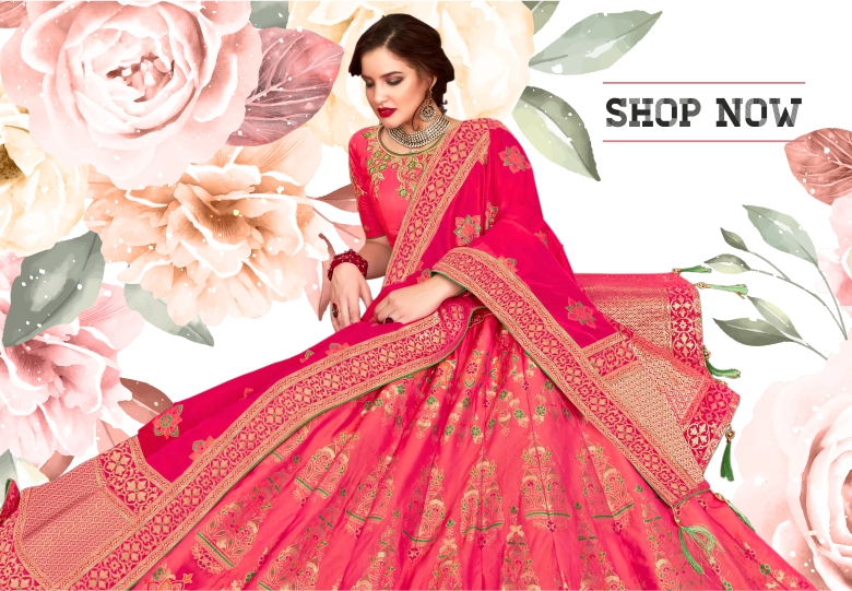 Pink Jacquard Silk Woven Lehenga Choli with Embroidered and Stone Worked Border