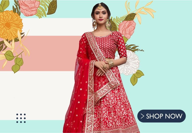 Red Art Silk Lehenga Choli with Resham Embroidery