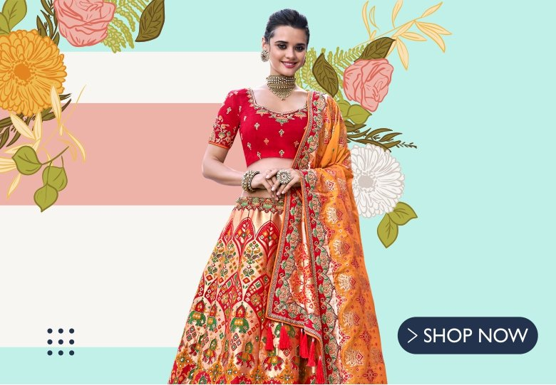 Red Banarasi Silk Lehenga Choli with Elephant Motifs and Golden Highlights