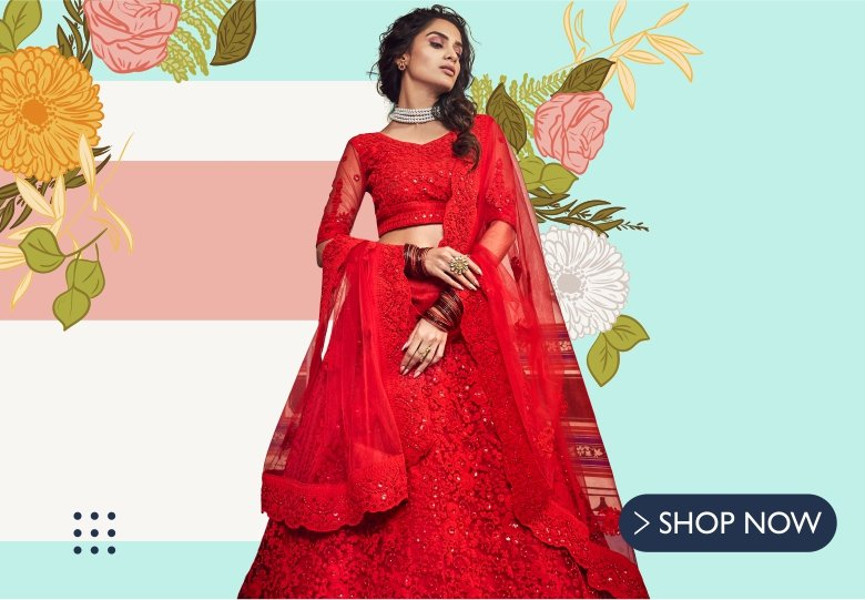 Red Net Designer Lehenga Choli with All Over Floral Embroidery and Cutwork Border
