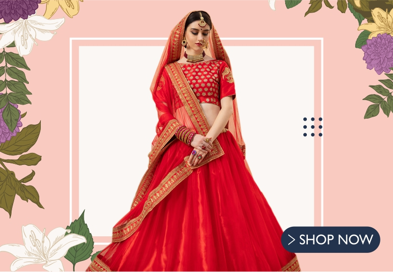 Red Net Floral Embroidered Traditional Lehenga Choli