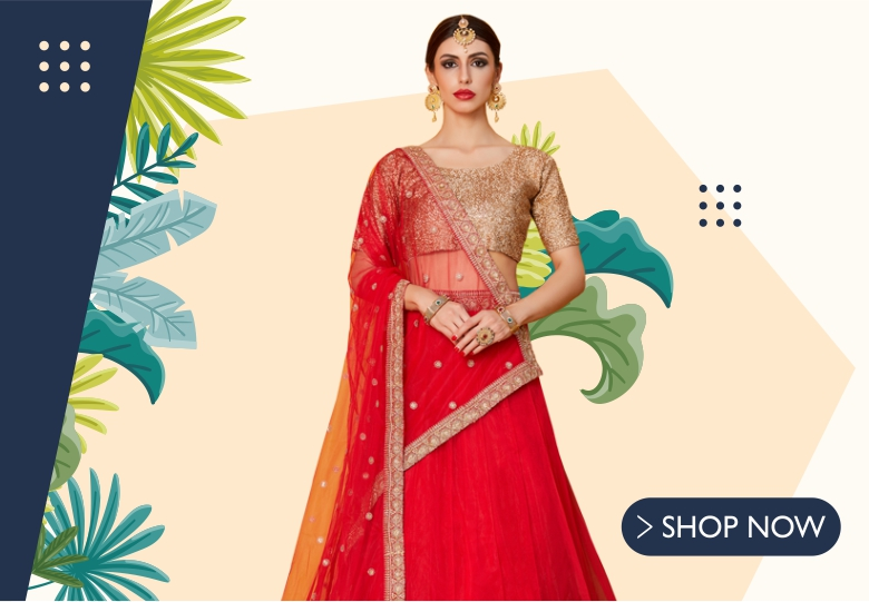 Red Net Lehenga Choli with Zari