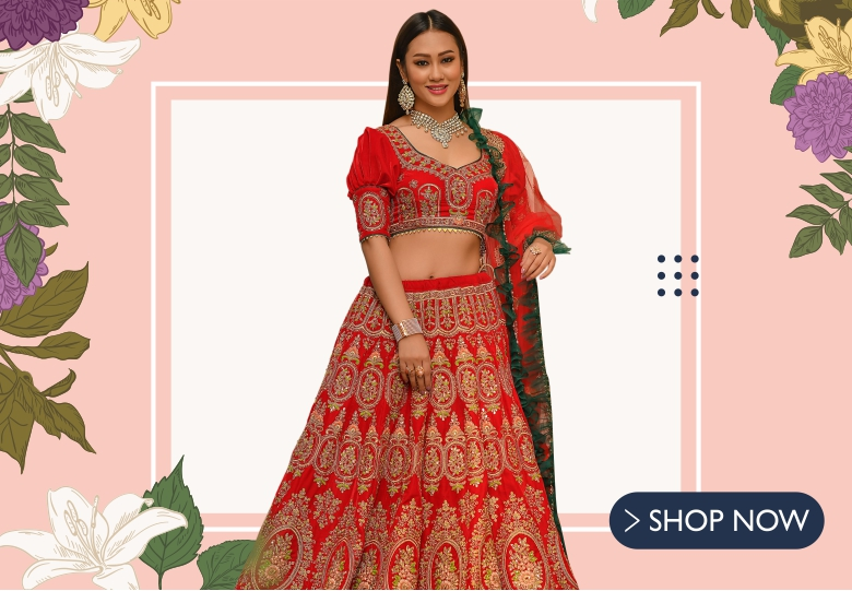 Red Velvet All Over Embroidered Lehenga with Designer Blouse