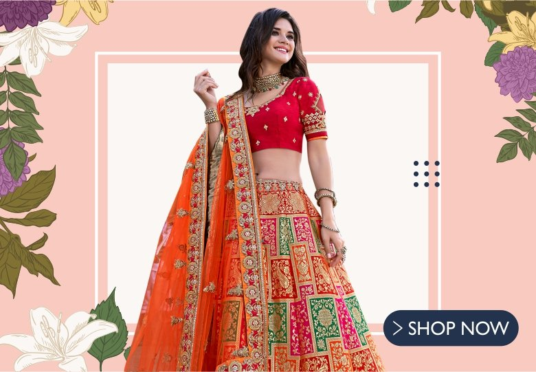 Red and Orange Banarasi Silk Lehenga Choli with Paisley Motifs and Embroidered Border