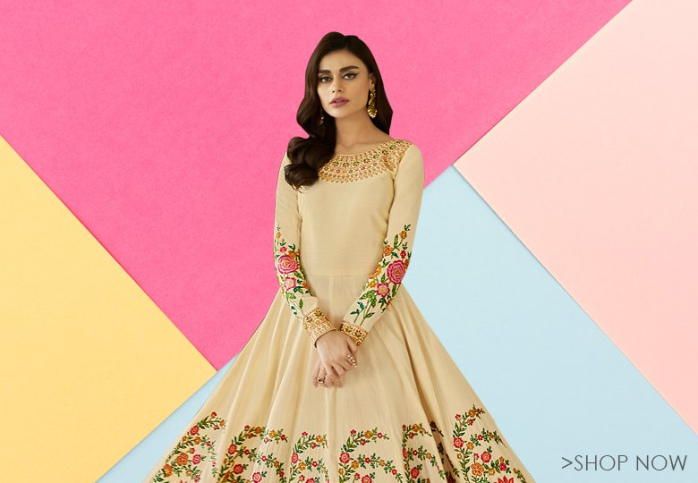 Cream Mulberry Silk Designer Flared Anarkali Suit with Floral Embroidery