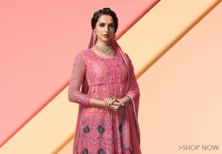 Dark Pink Net Designer Anarkali Lehenga Suit with Heavy Work