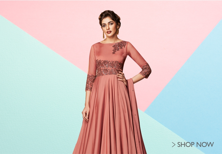 Dusty Peach Satin Designer Floor Length Anarkali Gown with Floral Embroidery