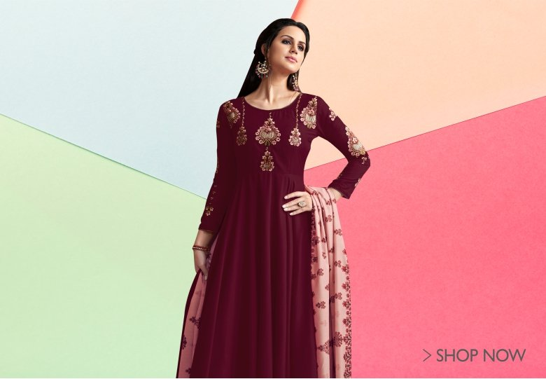 Maroon Muslin Floral Embroidered Designer Anarkali Suit with Palazzo