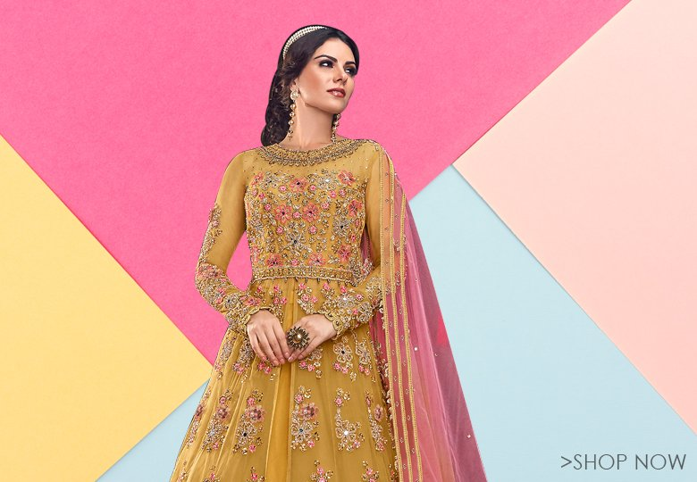 Mustard Net Designer Embroidered Open Front Slit Cut Anarkali Suit with Jacket