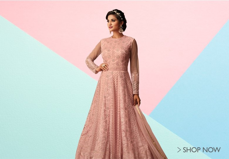 Salmon Pink Net Designer Floor Length Anarkali Suit with Thread Embroidery