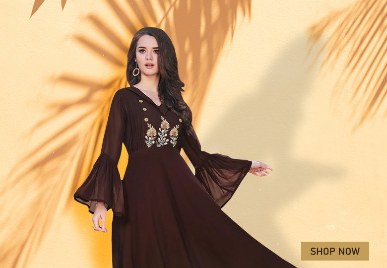 Brown Georgette Embroidered Long Kurti with Bell Sleeves