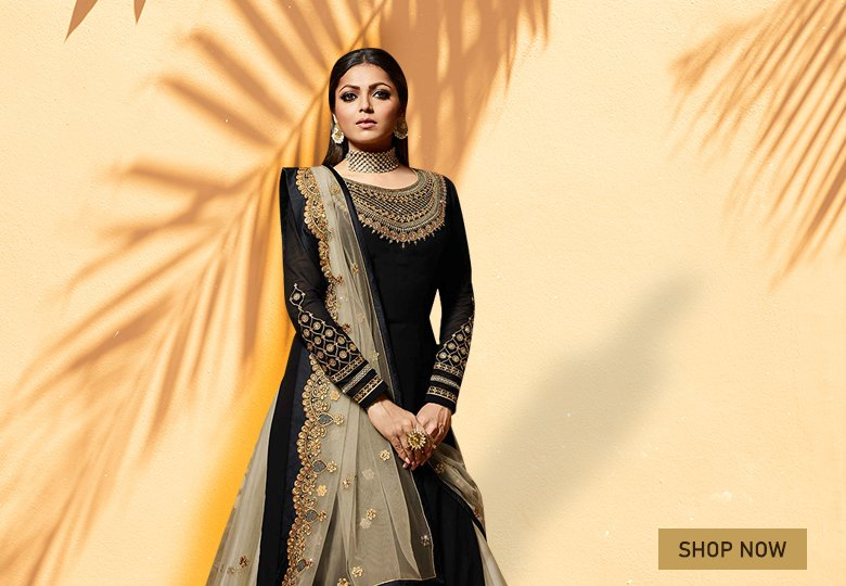 Drashti Dhami Black Georgette Designer Embroidered Lehenga Suit
