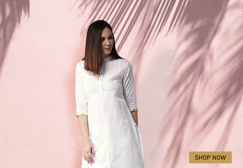 Pearl White Cotton Slit Cut Kurti with Palazzo