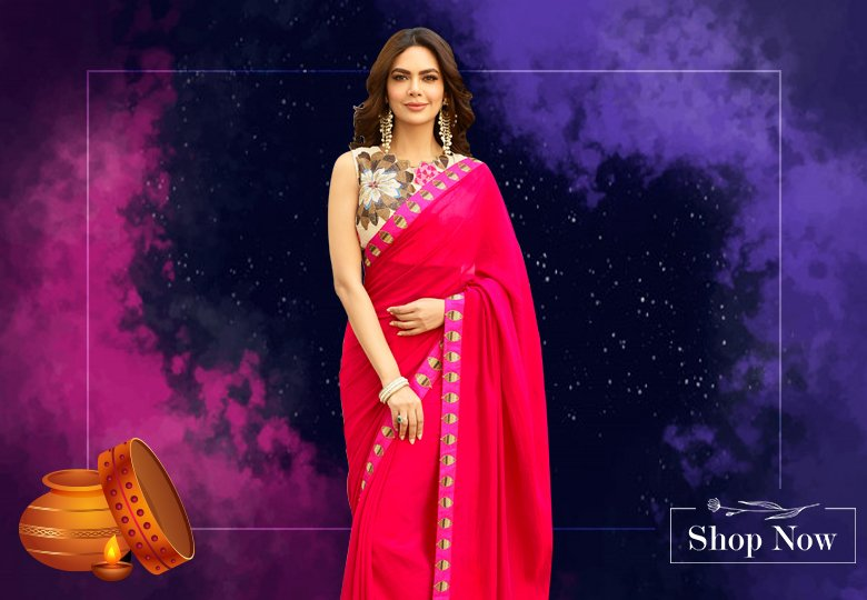 Esha Gupta Pink Georgette Plain Saree with Printed Blouse