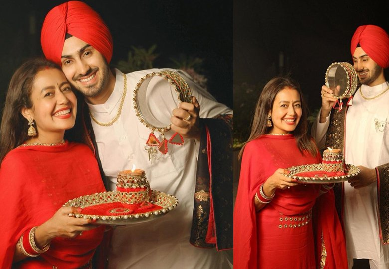 Neha Kakkar in Red Salwar Suit on Karwa Chauth
