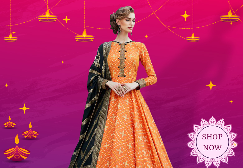 Orange Silk Printed Anarkali Suit