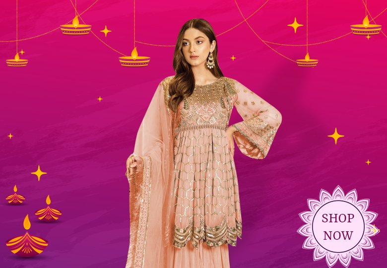 Peach Georgette Embroidered Pakistani Style Sharara Suit