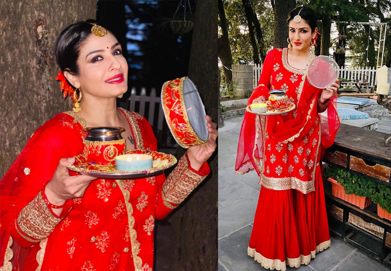 Raveena Tondon in Red Sharara on Karwa Chauth