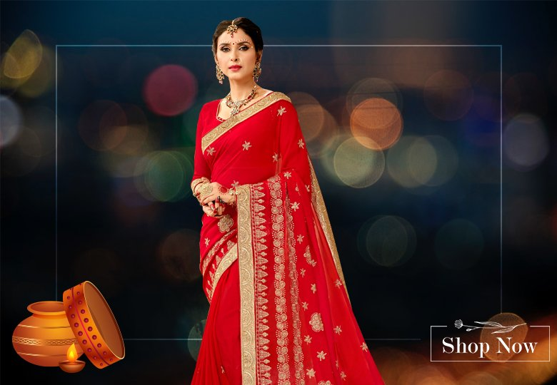 Red Georgette Saree with Embroidery