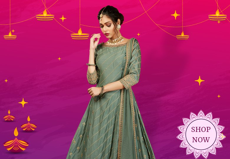 Sage Green Silk Anarkali Suit with Embroidery