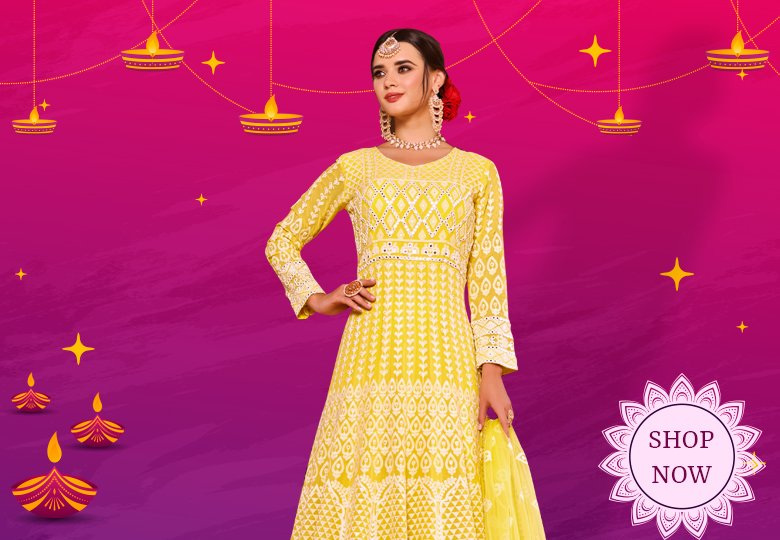 Yellow Viscose Georgette All Over Lucknowi Chikankari Anarkali Suit